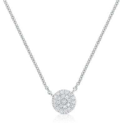 14K White Gold Diamond Pave Disc Necklace