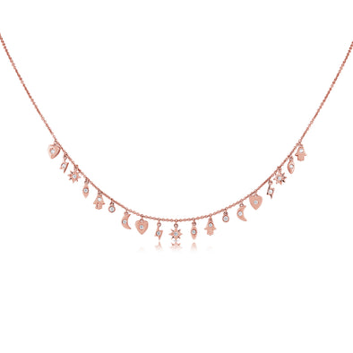 14K Rose Gold Mini Diamond Charm Necklace
