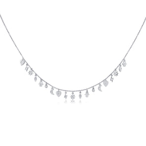 14K White Gold Mini Diamond Charm Necklace