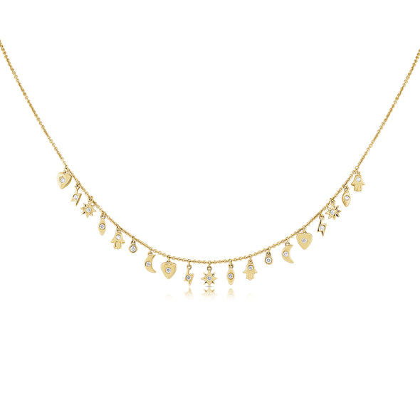 14K Yellow Gold Mini Diamond Charm Necklace