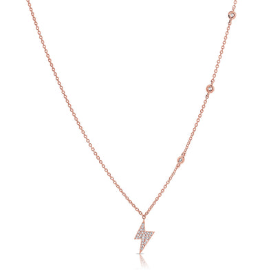 14K Rose Gold Diamond Lightning Bold Diamond Necklace