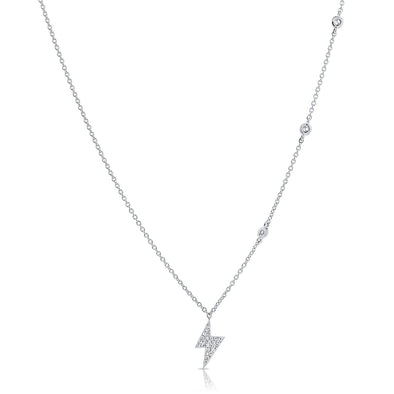14K White Gold Diamond Lightning Bold Diamond Necklace