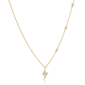 14K Yellow Gold Diamond Lightning Bold Diamond Necklace