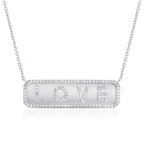 "14K White Gold Diamond ""Love"" Plate Necklace"