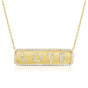 "14K Diamond ""Love"" Plate Necklace"
