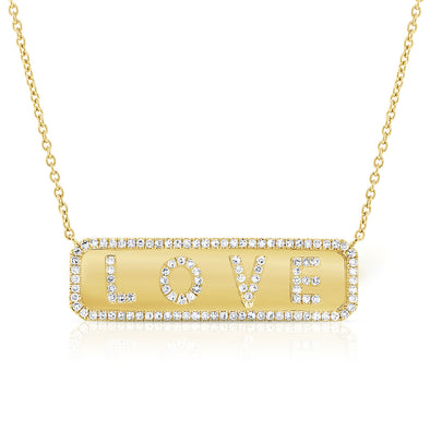 "14K Yellow Gold Diamond ""Love"" Plate Necklace"