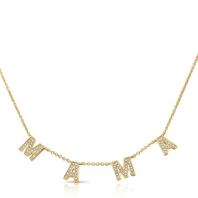 "14K Yellow Gold Diamond ""Mama"" Necklace"