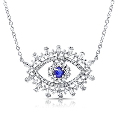 14K White Gold Diamond + Sapphire Evil Eye Necklace