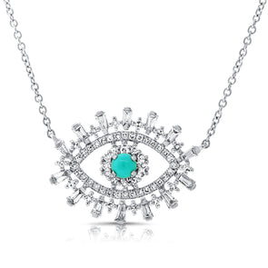 14K White Gold Diamond + Turquoise Evil Eye Necklace