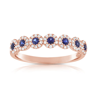14K Rose Gold Diamond Halo + Sapphire Band