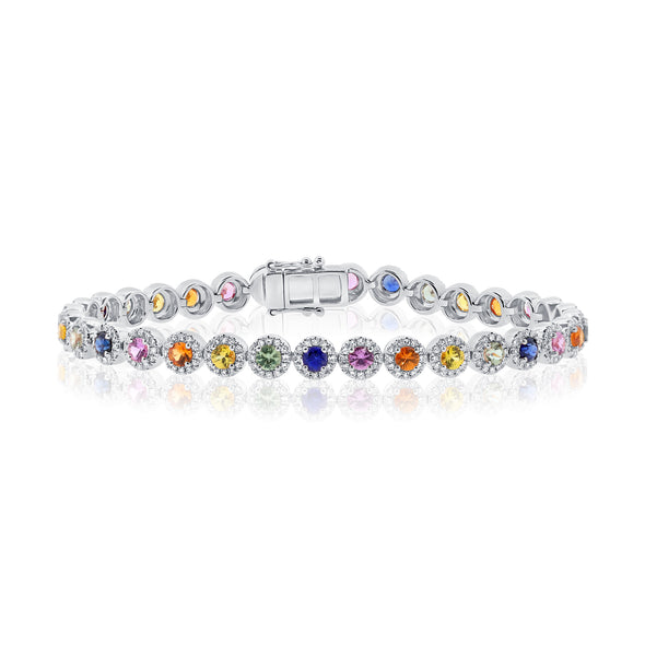 14K White Gold Diamond and Colored Gemstone Bracelet