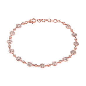 14K Rose Gold Diamond Pave Disc Bracelet