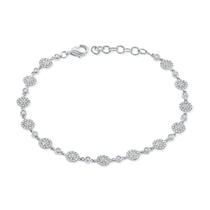 14K White Gold Diamond Pave Disc Bracelet