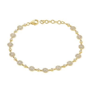14K Yellow Gold Diamond Pave Disc Bracelet