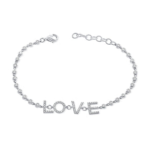 14K White Gold Diamond LOVE Bezel Bracelet