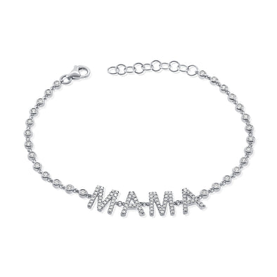 14K White Gold Diamond Mama Bezel Bracelet