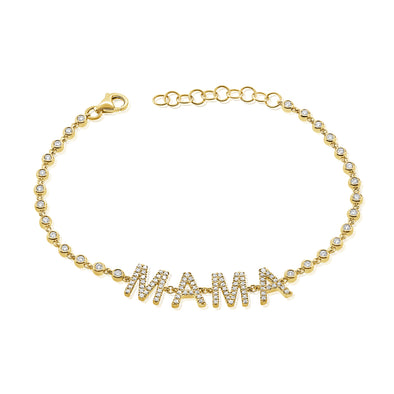 14K Yellow Gold Diamond Mama Bezel Bracelet