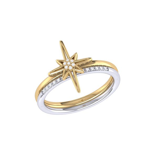 Two-Tone North Star Detachable Ring in 14 KT Yellow Gold Vermeil on Sterling Silver