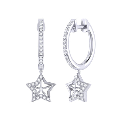 Lucky Star Hoop Earrings in Sterling Silver