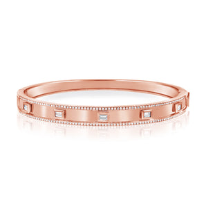14K Rose Gold Diamond Hinged Bangle