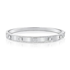 14K White Gold Diamond Hinged Bangle