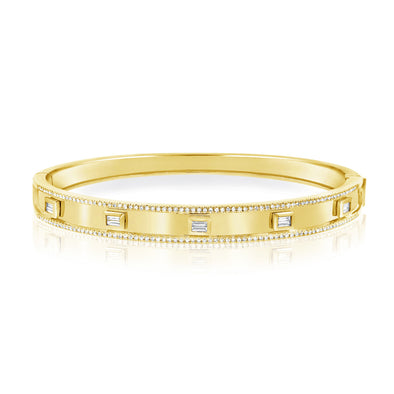 14K Yellow Gold Diamond Hinged Bangle