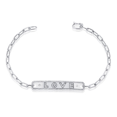 "14K White Gold Diamond ""Love"" Bar Bracelet"