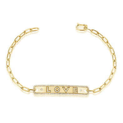 "14K Yellow Gold Diamond ""Love"" Bar Bracelet"