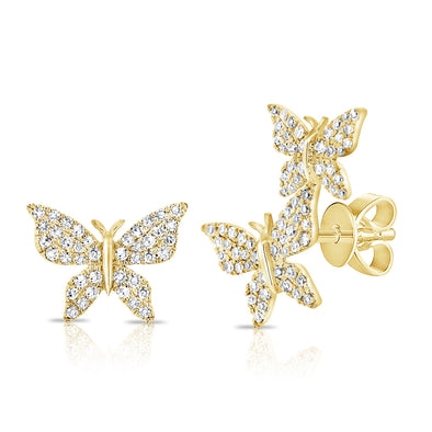 14K Yellow Gold Diamond Butterfly Stud Earrings