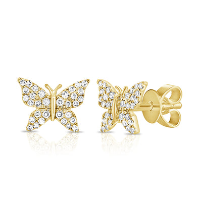 14K Yellow Gold Diamond Pave Butterfly Stud Earrings