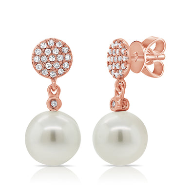 14K Rose Gold Diamond Disc + Pearl Earrings