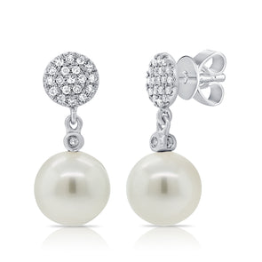 14K White Gold Diamond Disc + Pearl Earrings
