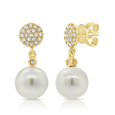 14K Yellow Gold Diamond Disc + Pearl Earrings