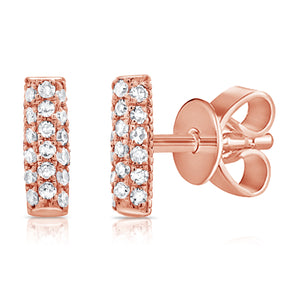 14K Rose Gold Diamond Pave Mini Bar Earrings