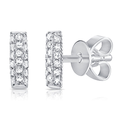 14K White Gold Diamond Pave Mini Bar Earrings