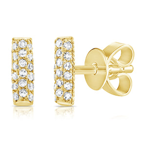 14K Yellow Gold Diamond Pave Mini Bar Earrings
