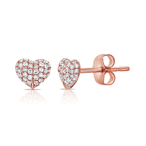 14K Rose Gold Diamond Puffy Heart Stud Earrings