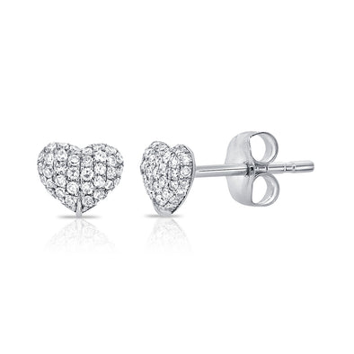 14K White Gold Diamond Puffy Heart Stud Earrings
