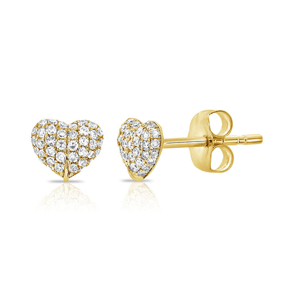 14K Yellow Gold Diamond Puffy Heart Stud Earrings