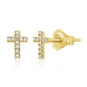 14K Yellow Gold Diamond Cross Stud Earrings