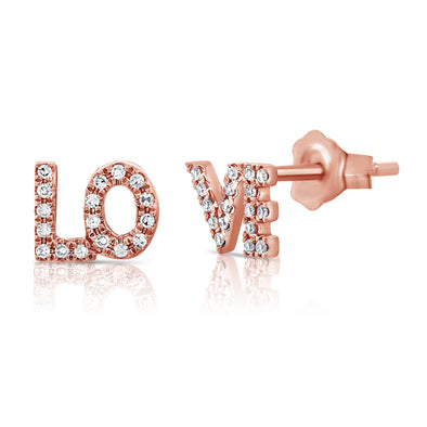 "14K Rose Gold Diamond ""Love"" Stud Earrings"