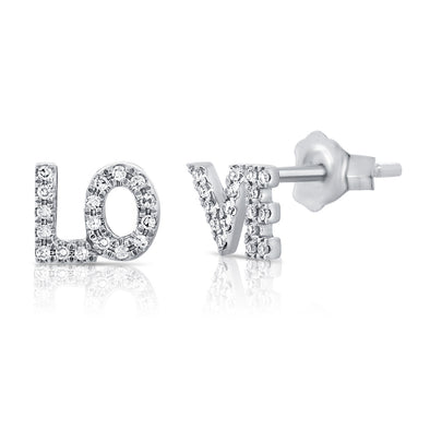 "14K White Gold Diamond ""Love"" Stud Earrings"