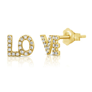 "14K Yellow Gold Diamond ""Love"" Stud Earrings"