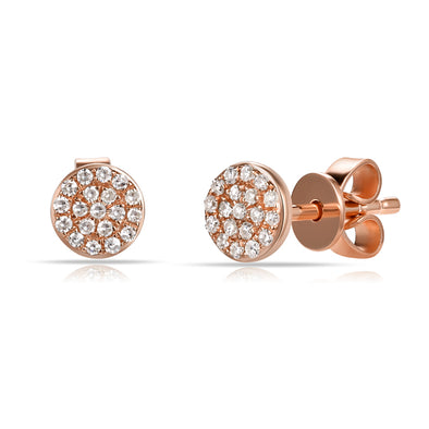 14K Rose Gold Diamond Disc Stud Earrings