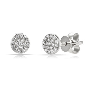 14K White Gold Diamond Disc Stud Earrings