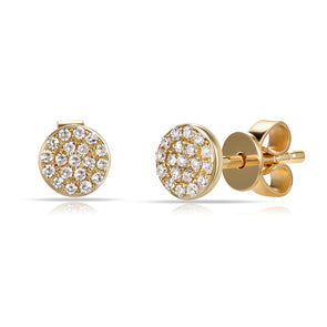 14K Yellow Gold Diamond Disc Stud Earrings