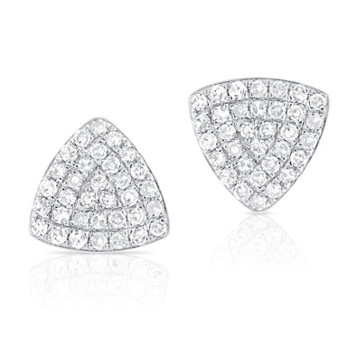 14K White Gold Diamond Triangle Stud Earrings