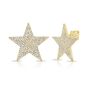 14K Yellow Gold Diamond Extra Large Star Earrings