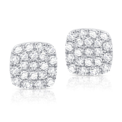 14K White Gold Diamond Small Petite Cushion Stud Earrings