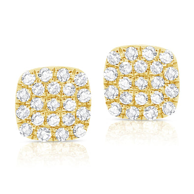 14K Yellow Gold Diamond Small Petite Cushion Stud Earrings